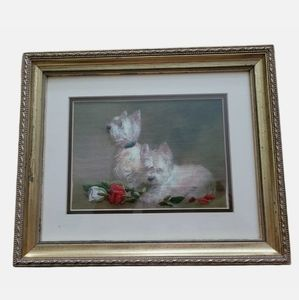 Terriers And Roses crewel framed artwork